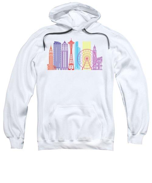 Seattle_v2 Skyline Pop Sweatshirt by Pablo Romero