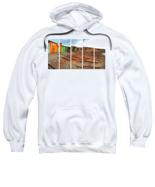 Sweatshirt featuring the photograph Second Valley Boat Sheds by Stephen Mitchell