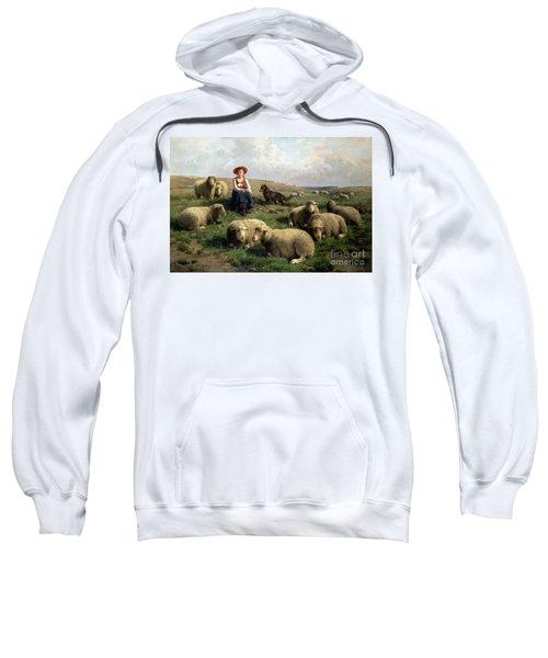 Shepherdess With Sheep In A Landscape Sweatshirt