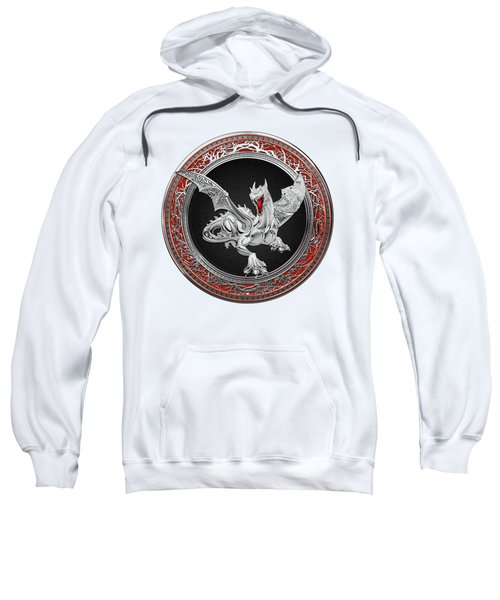Silver Guardian Dragon Over White Leather Sweatshirt