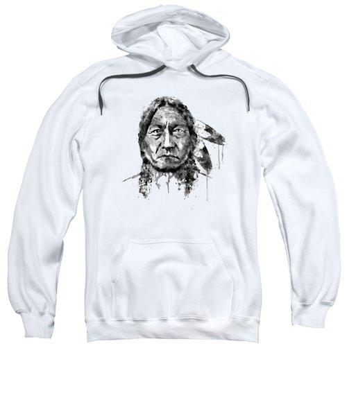 Sitting Bull Black And White Sweatshirt by Marian Voicu