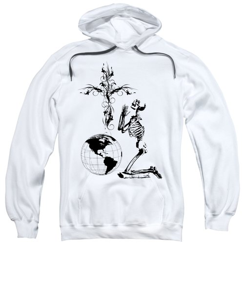 Skeleton Pryaing Cross Globe Sweatshirt