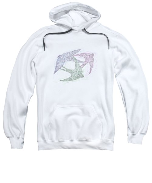 Sketch Of Swallow Birds Design In Motion Symbolism Of Freedom And Unity Sweatshirt
