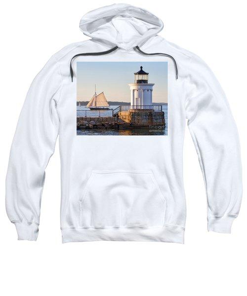 Sloop And Lighthouse, South Portland, Maine  -56170 Sweatshirt