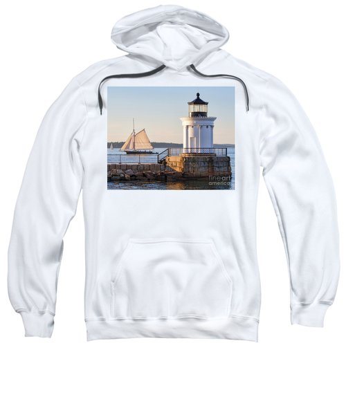 Sloop And Lighthouse, South Portland, Maine  -56170 Sweatshirt