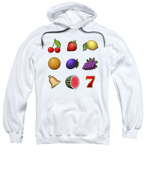 Slot Machine Fruit Symbols Sweatshirt by Miroslav Nemecek