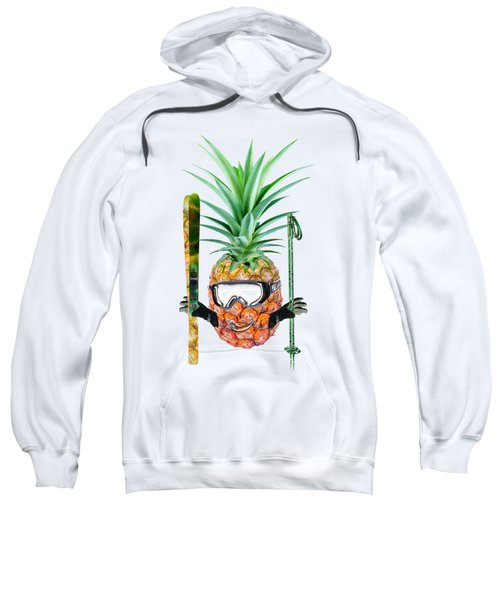Smiling Pineapple-downhill Skier Sweatshirt by Elena Nikolaeva