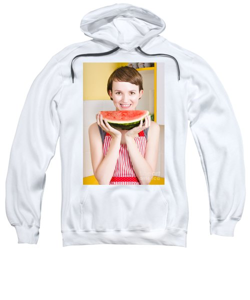 Smiling Young Woman Eating Fresh Fruit Watermelon Sweatshirt by Jorgo Photography - Wall Art Gallery