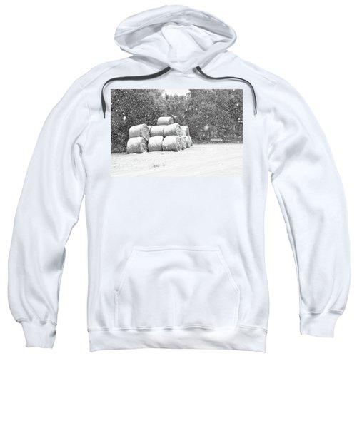 Snow Covered Hay Bales Sweatshirt