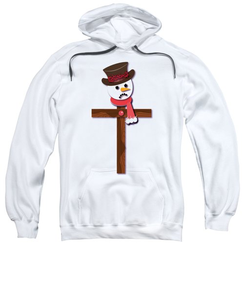Snowman Christian Cross Sweatshirt by Reggie Hart
