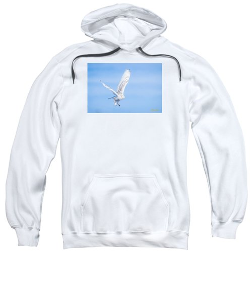 Sweatshirt featuring the photograph Snowy Owls Soaring by Rikk Flohr