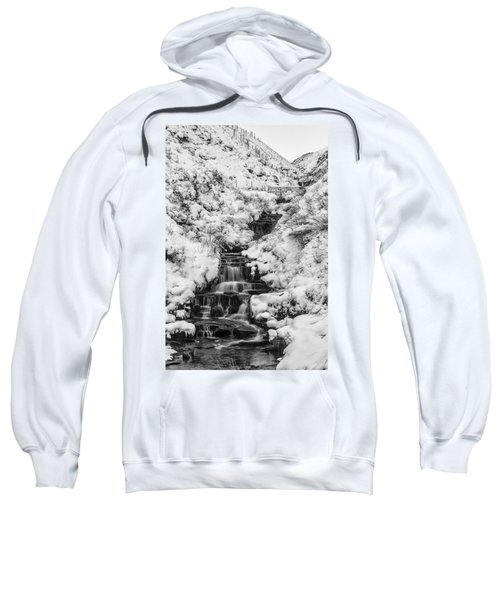 Snowy Waterfall In The Peak District In Derbyshire Sweatshirt