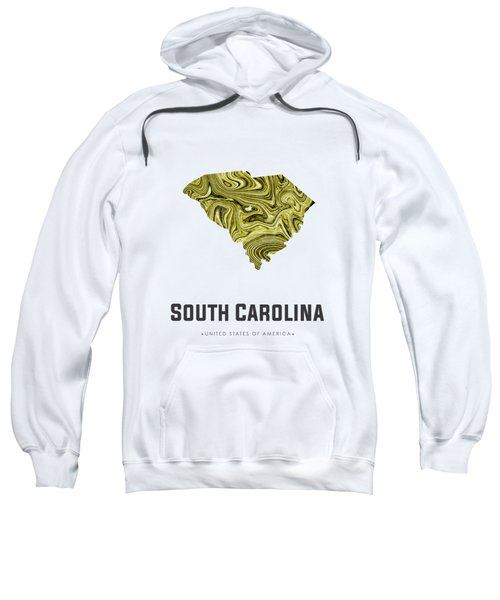South Carolina Map Art Abstract In Olive Sweatshirt