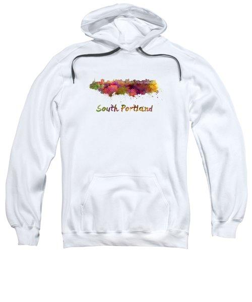 South Portland Skyline In Watercolor Sweatshirt