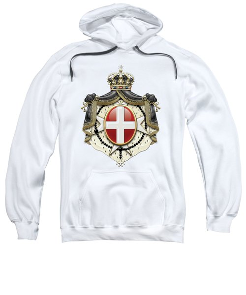 Sovereign Military Order Of Malta Coat Of Arms Over White Leather Sweatshirt