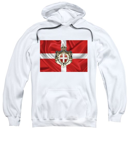 Sovereign Military Order Of Malta - S M O M Coat Of Arms Over Flag Sweatshirt