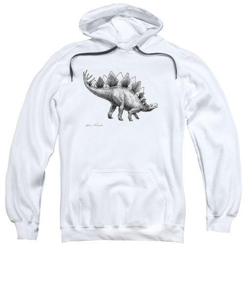 Stegosaurus - Dinosaur Decor - Black And White Dino Drawing Sweatshirt