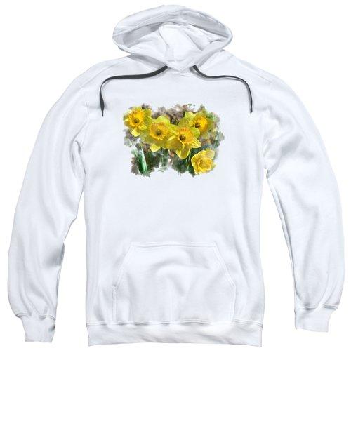 Spring Daffodils Watercolor Art Sweatshirt