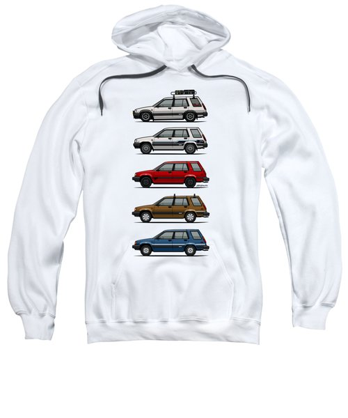 Stack Of Toyota Tercel Sr5 4wd Al25 Wagons Sweatshirt by Monkey Crisis On Mars
