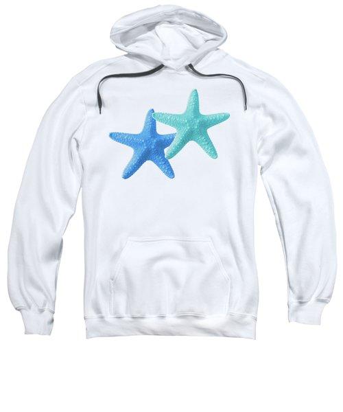 Starfish Blue And Turquoise On White Sweatshirt