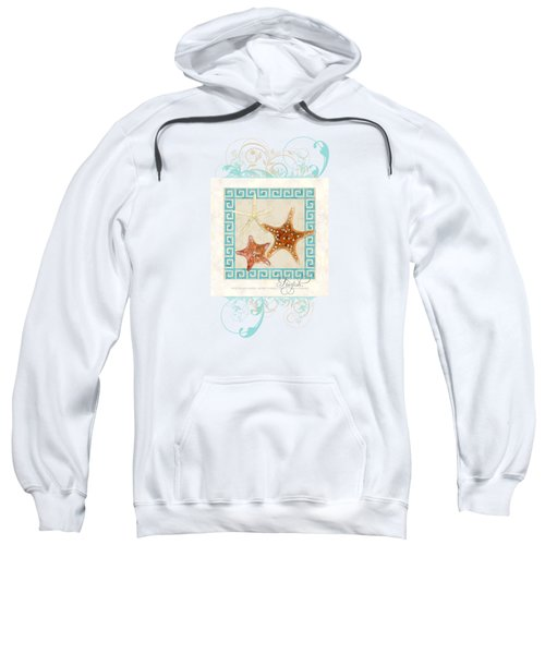 Starfish Greek Key Pattern W Swirls Sweatshirt by Audrey Jeanne Roberts