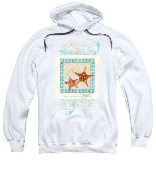 Starfish Greek Key Pattern W Swirls Sweatshirt