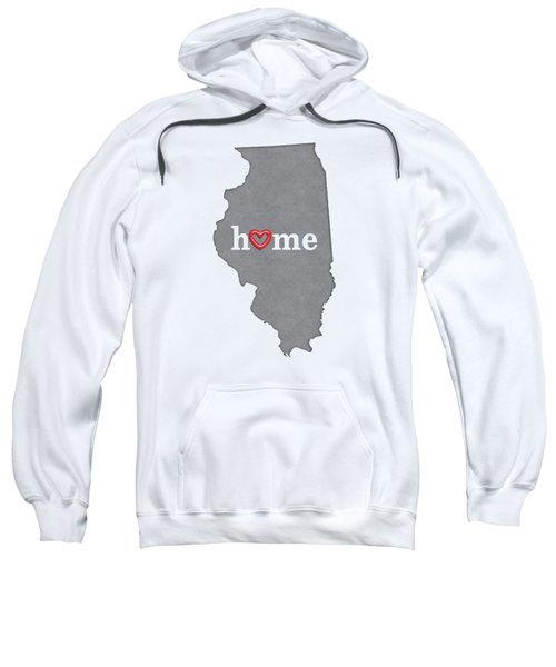 State Map Outline Illinois With Heart In Home Sweatshirt