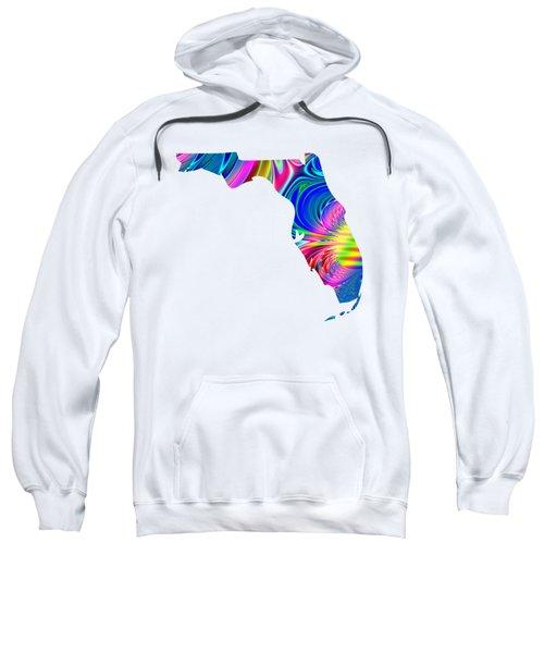 State Of Florida Map Rainbow Splash Fractal Sweatshirt