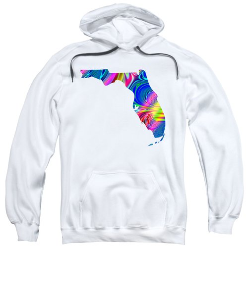 State Of Florida Map Rainbow Splash Fractal Sweatshirt
