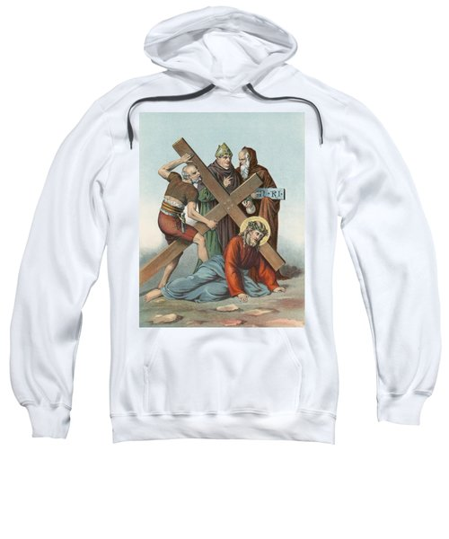 Station Ix Jesus Falls Under The Cross The Third Time Sweatshirt