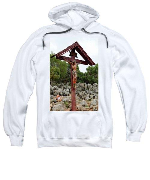 Statue Of Christ On Cross At Medjugorje Pilgrim Site Bosnia Herzegovina Sweatshirt
