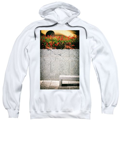 Sweatshirt featuring the photograph Stone Bench With Flowers by Silvia Ganora