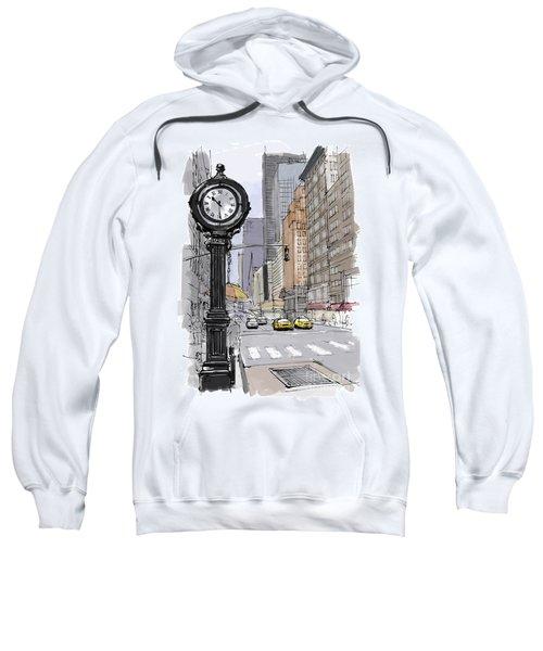 Street Clock On 5th Avenue Handmade Sketch Sweatshirt