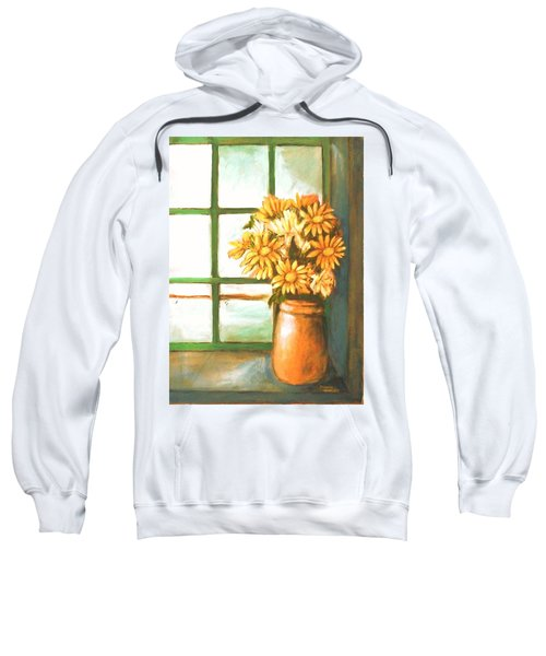Sweatshirt featuring the painting Sunflowers In Window by Winsome Gunning