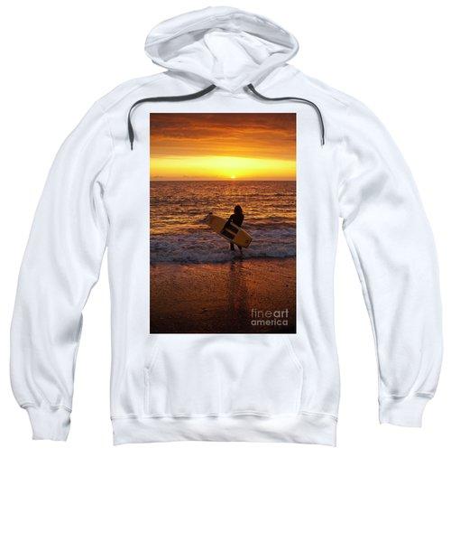 Sunset Surfer On Aberystwyth Beach Wales Uk Sweatshirt