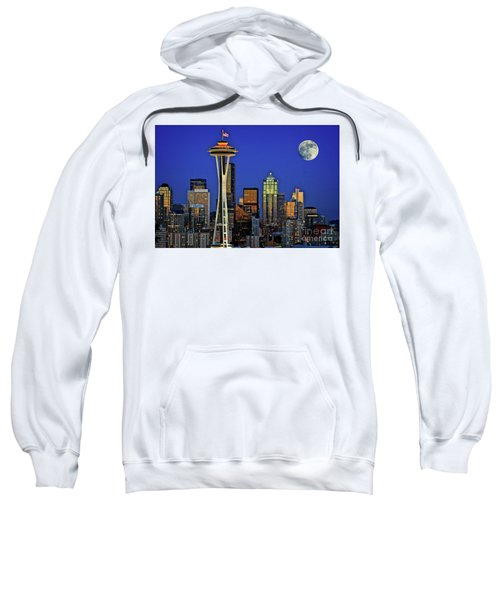Super Moon Over Seattle Sweatshirt