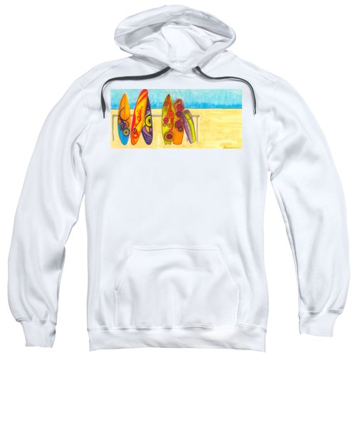 Surfing Buddies - Surf Boards At The Beach Illustration Sweatshirt