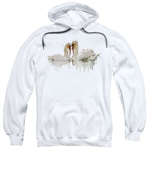 Swan Love Acrylic Painting Sweatshirt by Georgeta Blanaru