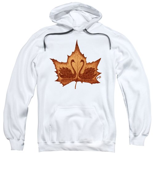 Swans Love On Maple Leaf Original Coffee Painting Sweatshirt