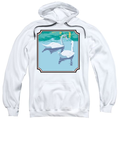 Swans On The Lake And Reflections Absract - Square Format Sweatshirt by Walt Curlee