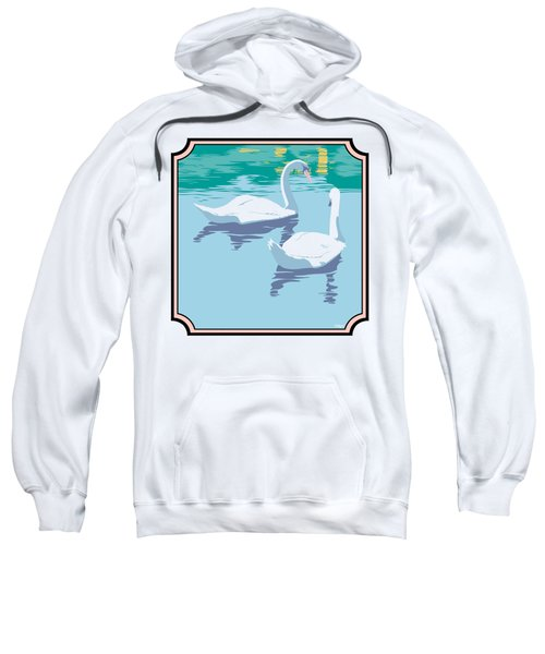 Swans On The Lake And Reflections Absract - Square Format Sweatshirt