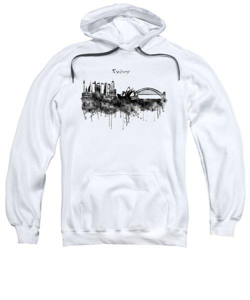 Sydney Black And White Watercolor Skyline Sweatshirt