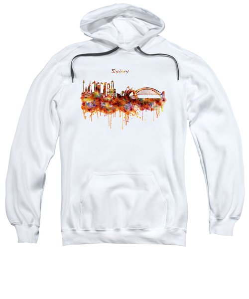 Sydney Watercolor Skyline Sweatshirt by Marian Voicu