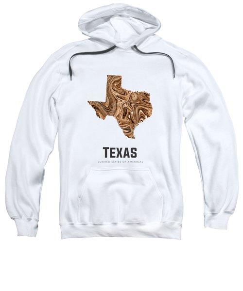 Texas Map Art Abstract In Brown Sweatshirt