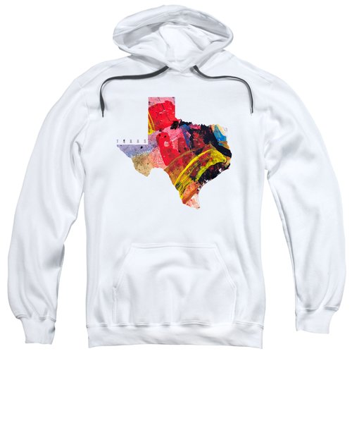 Texas Map Art - Painted Map Of Texas Sweatshirt