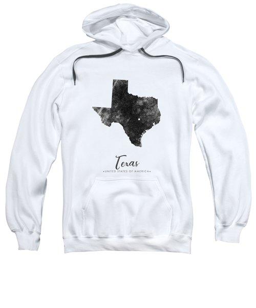 Texas State Map Art - Grunge Silhouette Sweatshirt