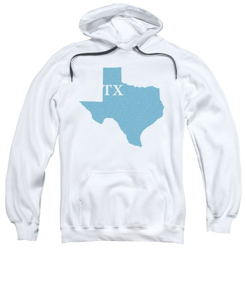Texas State Map With Text Of Constitution Sweatshirt
