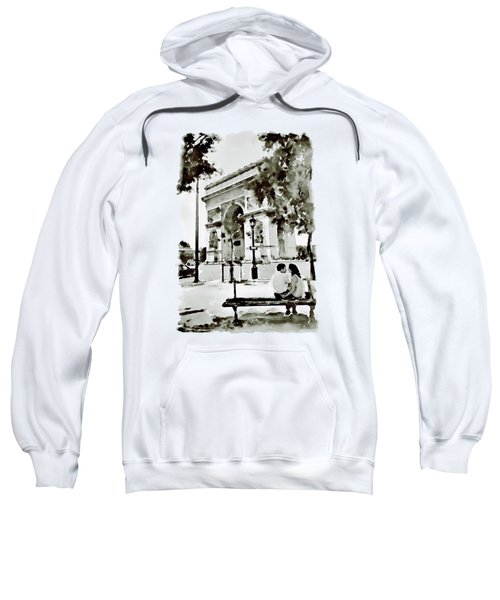The Arc De Triomphe Paris Black And White Sweatshirt by Marian Voicu