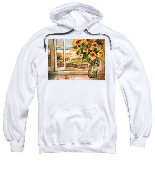 Sweatshirt featuring the painting The Beach Sunflowers by Winsome Gunning