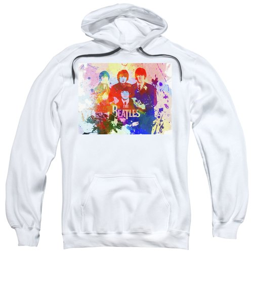 Sweatshirt featuring the painting The Beatles Paint Splatter  by Dan Sproul